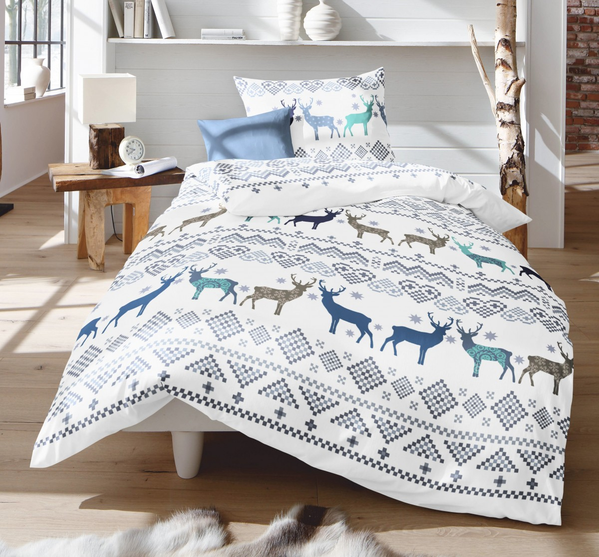 fleuresse fein biber bettw sche 2 tlg winter hirsche blau braun gr n wei bettw sche bettw sche. Black Bedroom Furniture Sets. Home Design Ideas