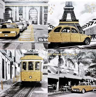 Canvas Glitzer Bild Leinwand 39x39cm New York Paris San Francisco Havanna Wandbild 001