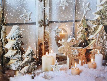 Canvas Bild flackernde Kerzen LEDs Leinwand 30x40cm Winter Weihnachten Wandbild [2]