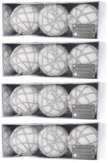16x Glitzer 6cm Weihnachtskugeln Weiß Spirale Netz Kunststoff Christbaumkugel [2]