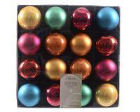16x Kunststoff Christbaumkugeln 6cm Gold / Rot / Bunt / Weiß Weihnachtskugeln 13