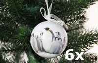6x Christbaumkugeln 8cm Wolf Eichhörnchen Pinguin Reh Eisbär Kunststoff Kugel 7
