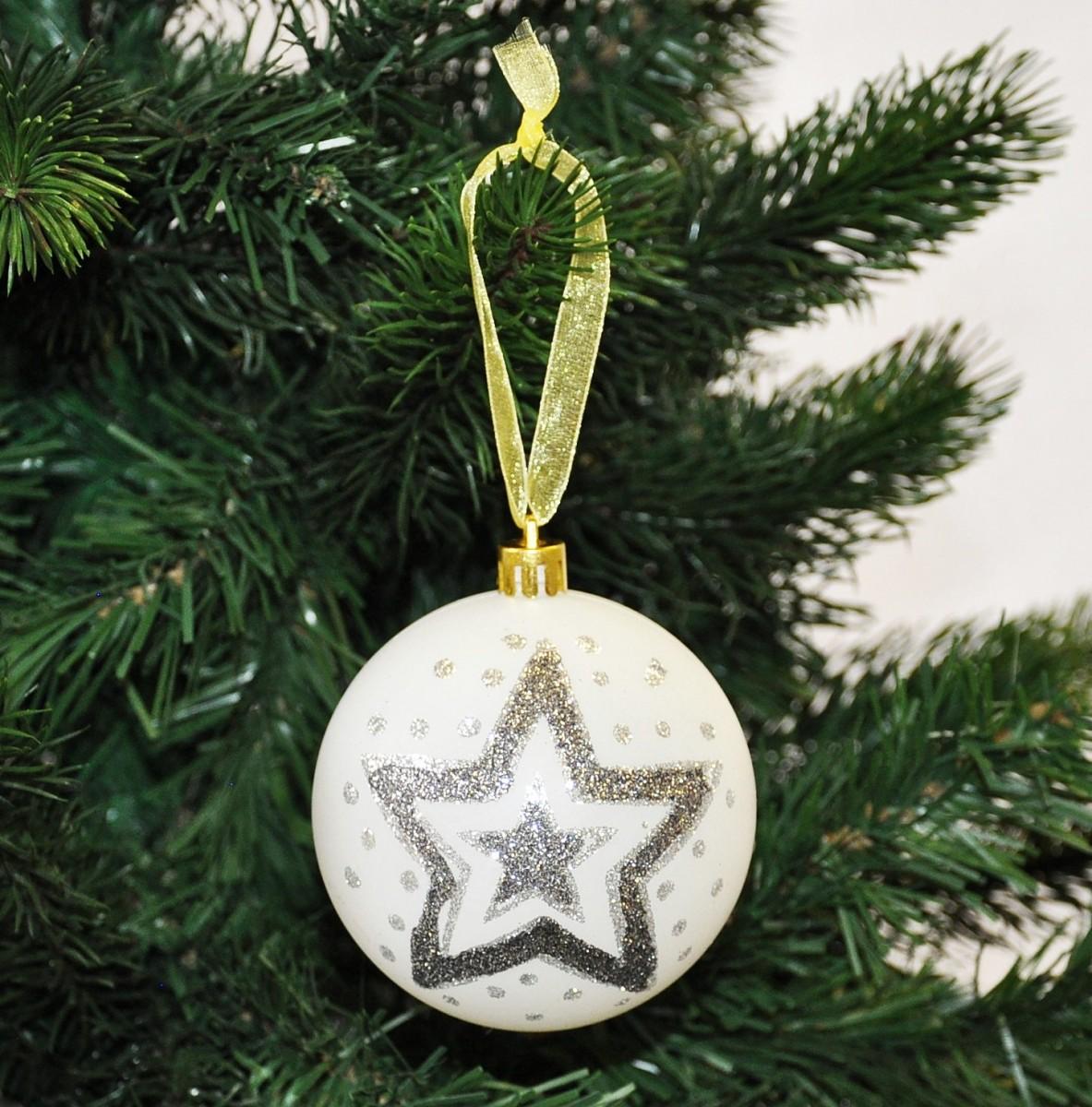 12x handbemalte christbaumkugeln wei 8cm stern kunststoff kugel glitzer sterne weihnachten. Black Bedroom Furniture Sets. Home Design Ideas