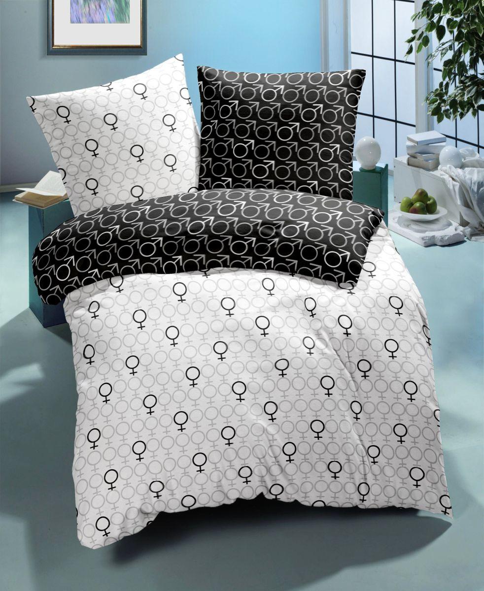 linon renforc bettw sche 135x200cm 2 tlg symbole schwarz. Black Bedroom Furniture Sets. Home Design Ideas