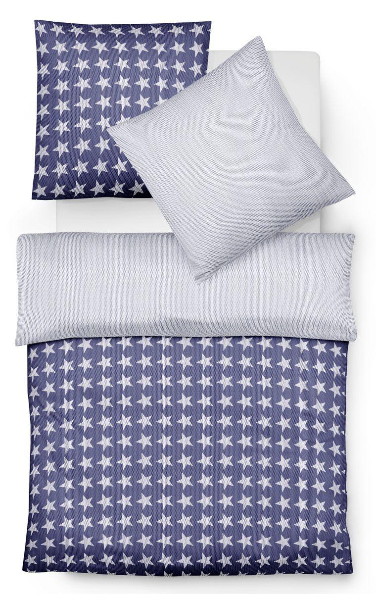 fleuresse mako satin bettw sche 2 tlg 135x200cm sterne grau wei blau wei bettw sche. Black Bedroom Furniture Sets. Home Design Ideas
