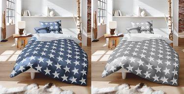 Fleuresse Mako Satin Bettwäsche 2 tlg. 135x200cm Sterne Grau Weiß / Blau Weiß [1]