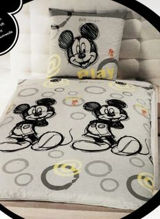 Disney Linon / Renforcé Bettwäsche Mickey Mouse 135x200cm 2 tlg. Retro Hell @ [1]
