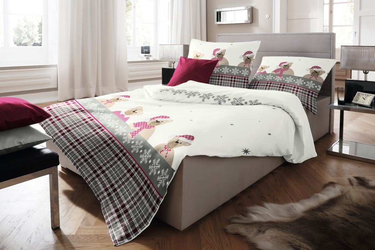 fleuresse fein biber bettw sche 135x200cm 2 tlg b ren b rchen rot grau ecru bettw sche. Black Bedroom Furniture Sets. Home Design Ideas