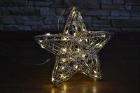 40 LED Metall 20cm Stern Weihnachtsstern Kupfer Silber Stehend Hängend Sterne 4