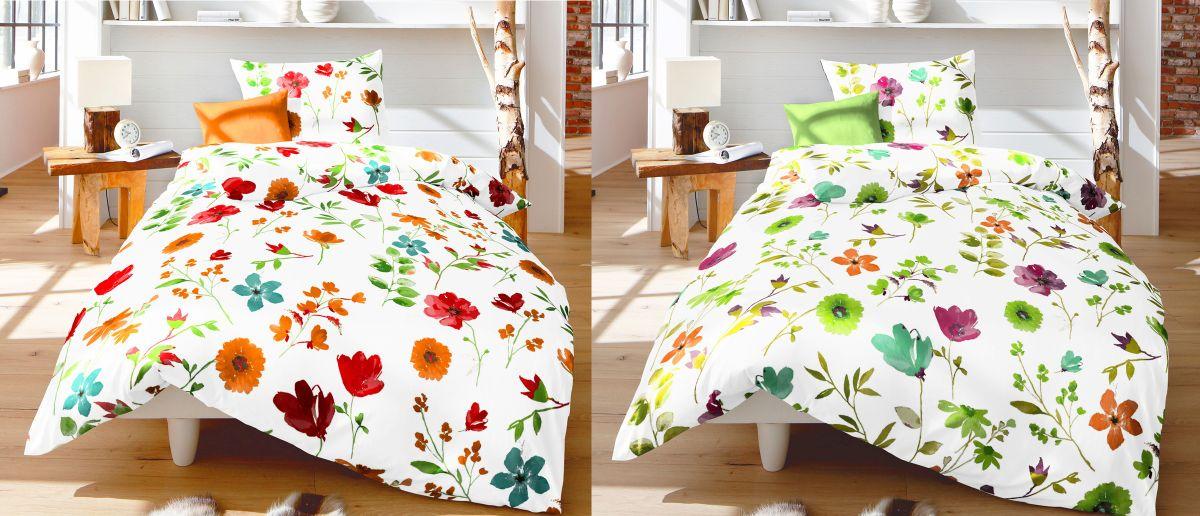 fleuresse seersucker bettw sche 2 tlg 135x200cm blumenmeer rot wei gr n wei bettw sche. Black Bedroom Furniture Sets. Home Design Ideas