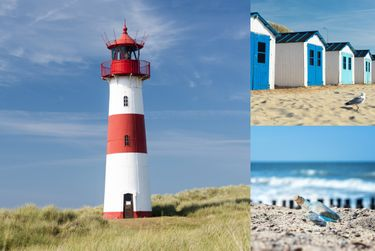 Canvas Nordsee Bild Leinwand Leuchtturm Flaschenpost In & Outdoor Wandbild [1]