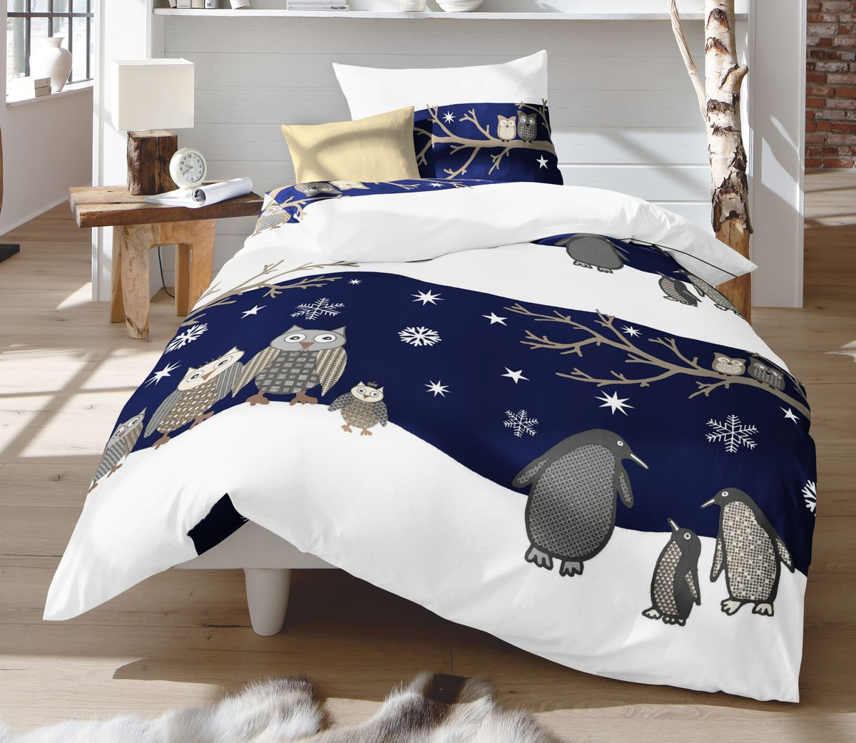 fleuresse fein biber bettw sche 135x200cm 2 tlg blau silber eulen pinguine bettw sche. Black Bedroom Furniture Sets. Home Design Ideas