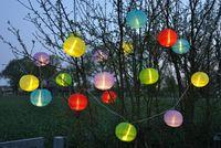 20 bunte XXL Lampions 9,50m LED Lichterkette Partylichterkette Garten Lampion Ø 15cm 6