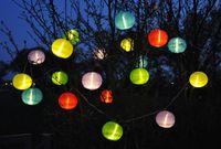 20 bunte XXL Lampions 9,50m LED Lichterkette Partylichterkette Garten Lampion Ø 15cm 7