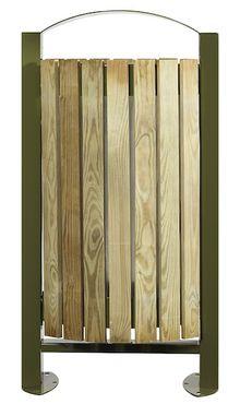 Rossignol Arkea Aussenbereich Abfallkorb aus Stahl 60L mit Holzverkleidung – Bild 2