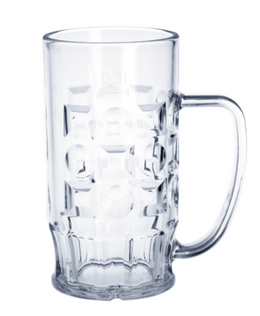 Beer mug 0,3l - 0,5l SAN crystal clear plastic dishwasher safe and food safe