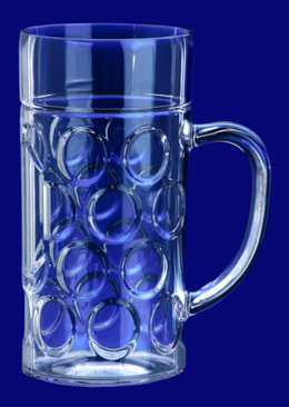 Beer mug 1l SAN Crystal clear of plastic dishwasher safe and food safe
