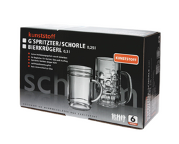 Present-Set: 6Stk. G'spritzter / Schorle Glass 0,25l SAN of Plastic + Box – Bild 1