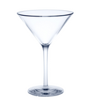 6 piece Reusable Martini Glass crystal clear of plastic ca. 0,1l SAN