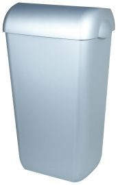 PlastiQline waste bin in stainless steel look 23 L for wall mouting or free standing