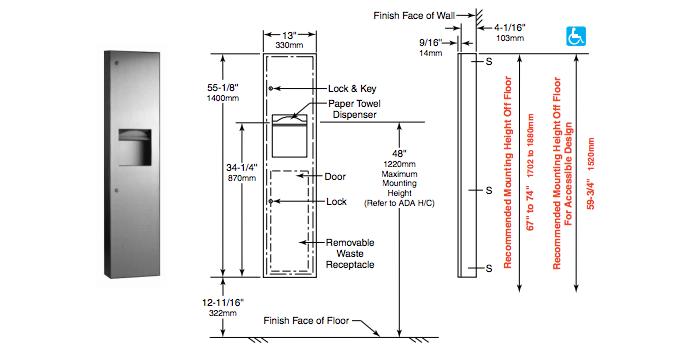 Ada Bathroom Paper Towel Dispenser Height bobrick b-38034 and b-380349 paper towel dispenser and waste