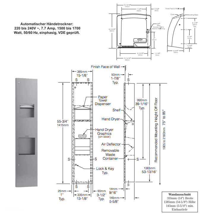 Bathroom Towel Dispenser Plans bobrick b-38033 3in1 paper towel dispenser, automatic hand dryer