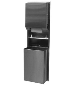 Bobrick konvertierbarer Papierhandtuchspender und Abfallbehälter für den Wandeinbau  – Bild 1
