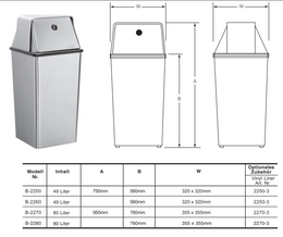 B-2250 freestanding waste bin 49,2L satin brushed stainless steel with top  – Bild 2