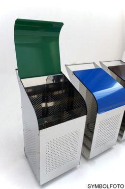 G-Line Pro Abfalleimer Ecobin aus poliertem Edelstahl 1.4301 Aluminiumdeckel Grün – Bild 2