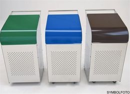 G-Line Pro Abfalleimer Ecobin aus poliertem Edelstahl 1.4301 Aluminiumdeckel Grün – Bild 4