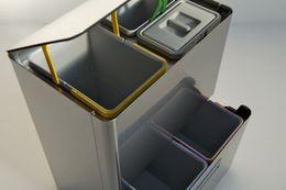 Graepel High Tech hochwertiges Mülleimer-Trennsystem Five aus gebürstetem Edelstahl – Bild 4