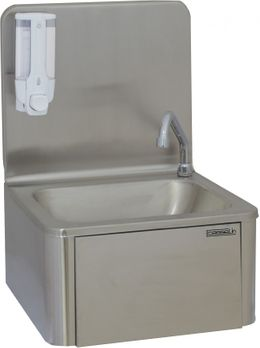 Casselin washbasin stainless steel - wall mounting - knee-operated - soap dispenser
