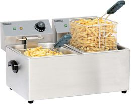 Casselin deep fat fryer with 2 basins with each 8l - stainless steel - 2 x 3250W