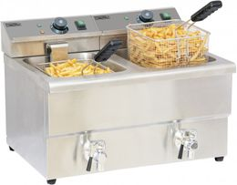 Casselin double deep fat fryer in stainless steel 2x 8l - drain tap - 2x 3250W