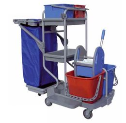 IPC Euromop Top Evolution Mega cleaning trolley with waste bag holder and buckets