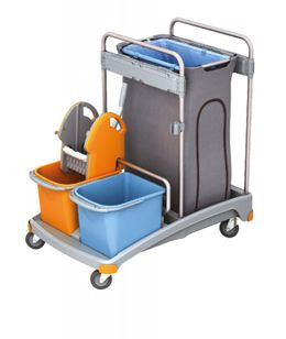 Splast cleaning trolley set with wringer, 2 buckets and trash bag holder with cover