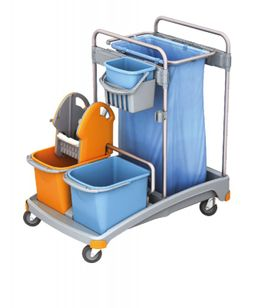 Splast plastic cleaning trolley with buckets, bag holder 120 l, wringer and trays