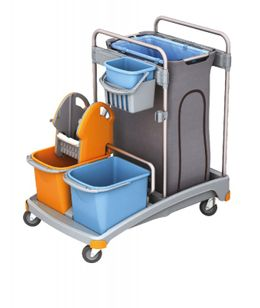 Splast trolley set with a plastic base, buckets, waste bag holder and wringer