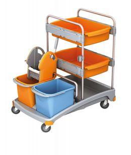 Splast Reinigungstrolley-Set mit Moppresse, 2 Eimern, 2 Fächern und Ablagefläche