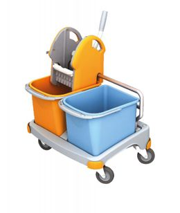Splast small cleaning trolley in orange and blue with wringer and 2 plastic buckets