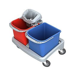 Splast plastic cleaning trolley with PIKO wringer and 2 buckets each 20 l