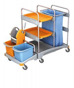 Splast Putzwagen aus Kunststoff mit Abfallsackhalter, Moppresse, Eimern und Regal