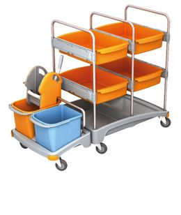 Splast mobile cleaning system made of plastic with 4 trays, wringer and buckets