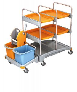 Splast cleaning trolley made of plastic - with wringer, 2 buckets and 4 trays