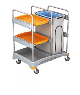 Splast cleaning trolley with waste bag holder incl. covering and with 2 trays