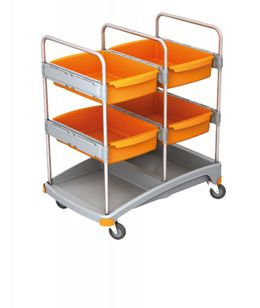Splast mobile cleaning system made of plastic - with 4 trays - orange/grey