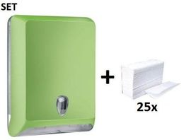 SET Marplast papertowel dispenser MP830 green made of plastic + papertowels – Bild 1