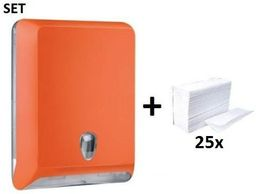 SET Marplast Papierhandtuchspender MP830 Orange Colored Edition + Papierhandtücher – Bild 1