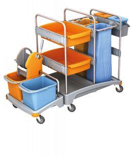 Splast Putzwagen mit Moppresse, 2 Beutelhaltern und Eimern - 2x 6l Eimer optional – Bild 2