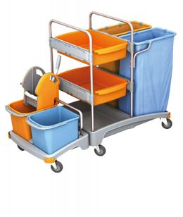 Splast cleaning trolley with 2 waste bag holders each 120l, wringer and 2 trays